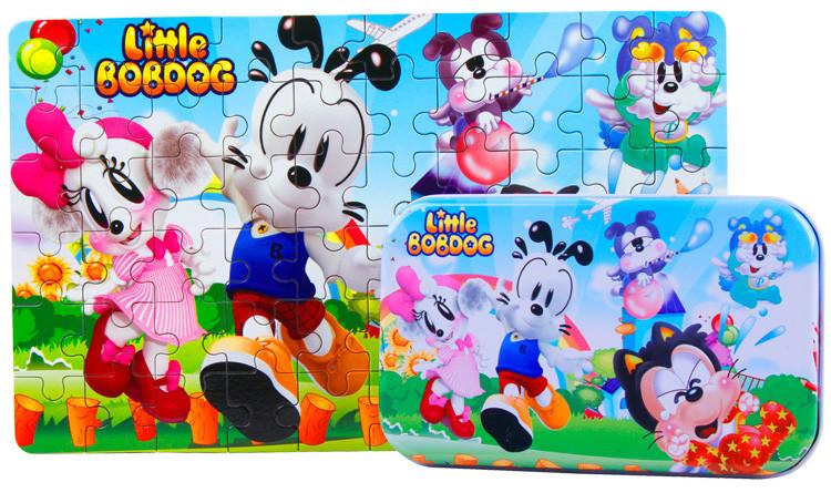 60pcs/set Wooden Puzzle  Package Tin Box Jigsaw Puzzle  Little BobDog