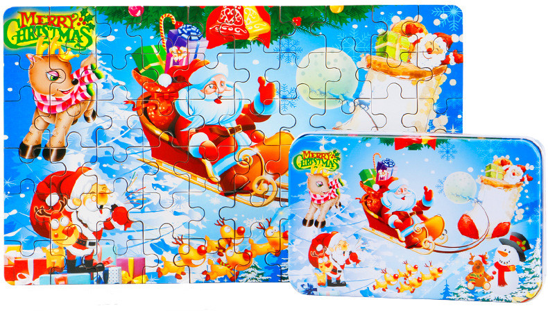 60pcs/set Wooden Puzzle  Package Tin Box Jigsaw Puzzle  Merry Christmas